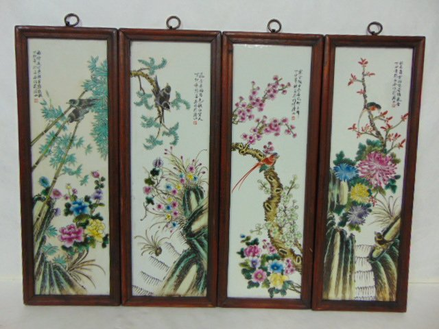 VINTAGE HAND PAINTED CHINESE PORCELAIN ASIAN PANELS