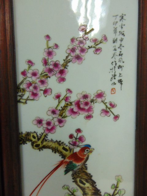 VINTAGE HAND PAINTED CHINESE PORCELAIN ASIAN PANELS - 4