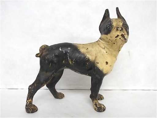 - ANTIQUE CAST IRON HUBLEY BOSTON TERRIER DOG DOOR STOP