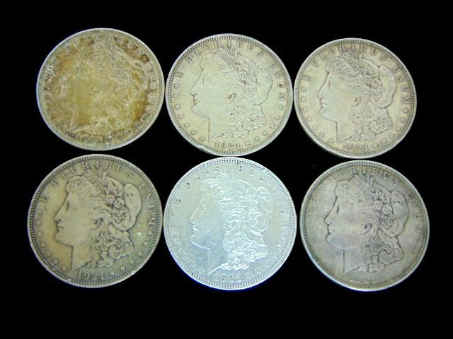 LOT OF SIX 1921-D MORGAN SILVER DOLLARS ESTATE FIND