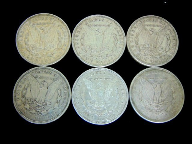 LOT OF SIX 1921-D MORGAN SILVER DOLLARS ESTATE FIND - 2