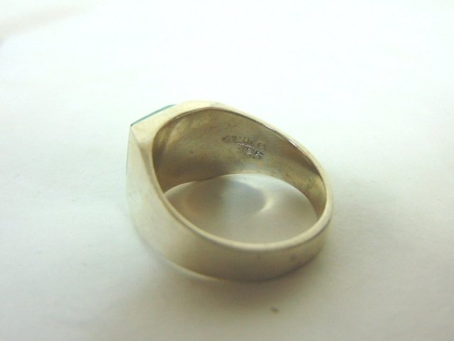 Mens Sterling Silver Ring w/ Malachite - 3