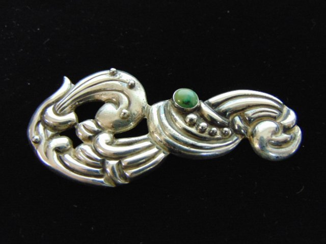 Womens Sterling Silver .980 Taxco Brooch w/ Turquoise