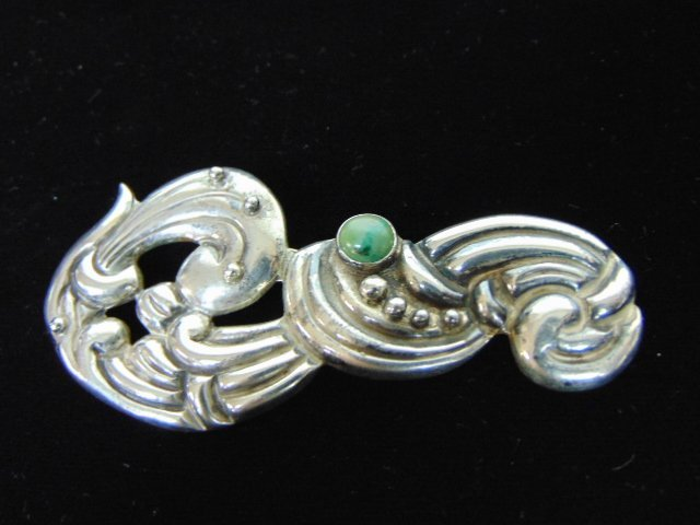 Womens Sterling Silver .980 Taxco Brooch w/ Turquoise - 2