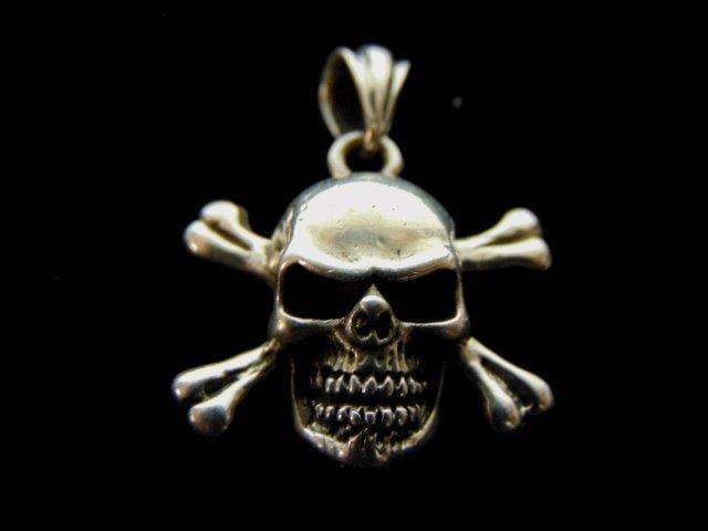 Vintage Estate Sterling Silver Skull & Bones Pendant