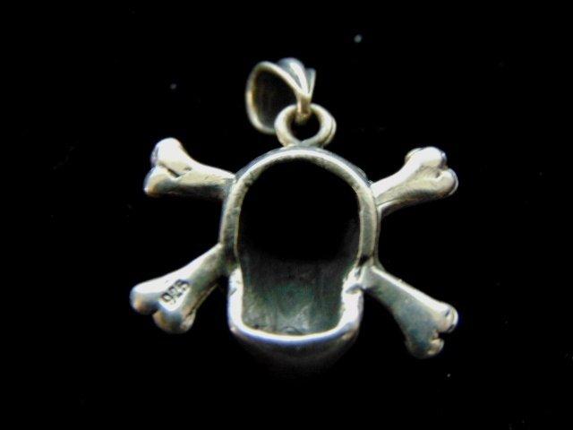 Vintage Estate Sterling Silver Skull & Bones Pendant - 2