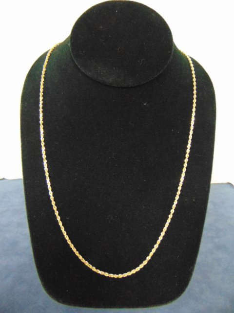 Vintage Estate 14k Yellow Gold Rope Necklace 9.0g