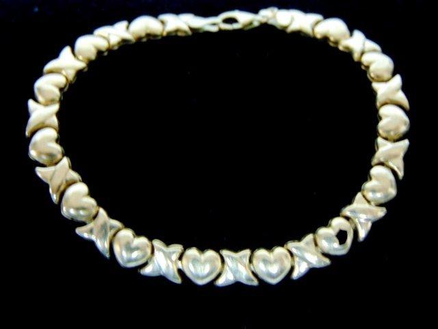 Womens Vintage Estate 10K Yellow Gold Heart Bracelet