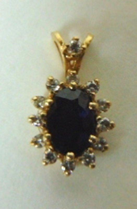 10K Yellow Gold Pendant w/ Blue Sapphire & Diamonds