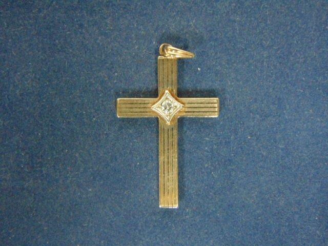 10k Gold Religious Crucifix Cross Pendant w/ Diamond