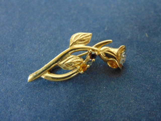 Womens Vintage Estate 10K Yellow Gold Rose Brooch