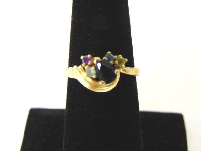 Vintage Estate 10K Gold Ring With Multi Stones