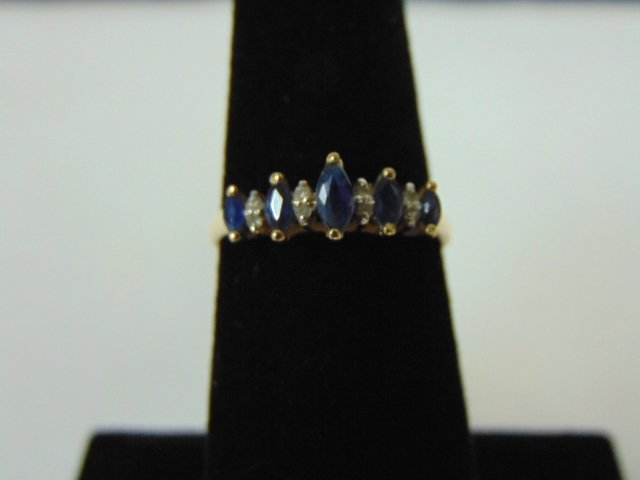 Womens Vintage Estate 10k Gold Ring w/ Blue Sapphire