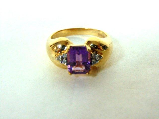 10k Gold Designer Dunier Ring w/ Amethyst & Diamonds