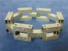 Womens Vintage Estate Sterling Silver Panel Bracelet
