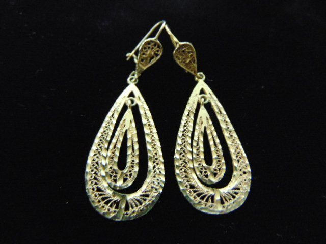 Pr Vintage Estate 14K Yellow Gold Hoop Dangle Earrings