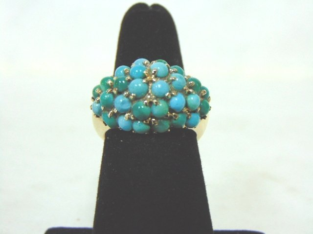 Vintage Estate 14K Yellow Gold Ring w/ Turquoise Beads