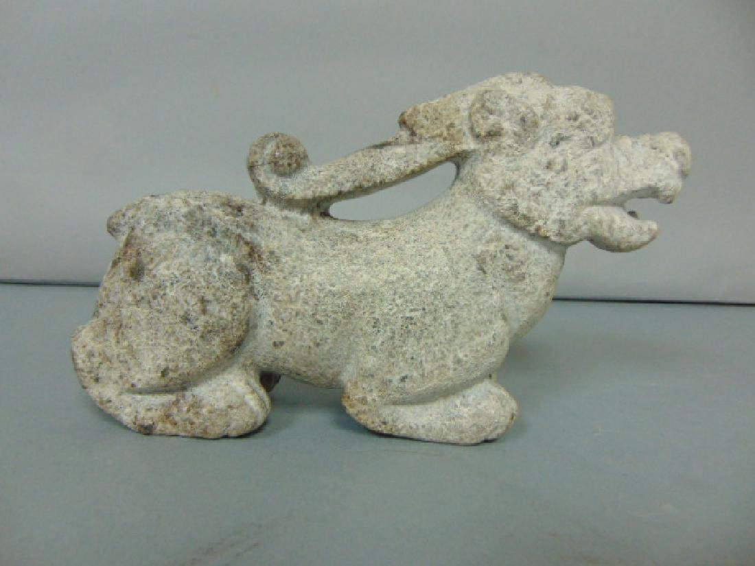 DECORATIVE HAND CARVED CHINESE SOAPSTONE DRAGON STATUE