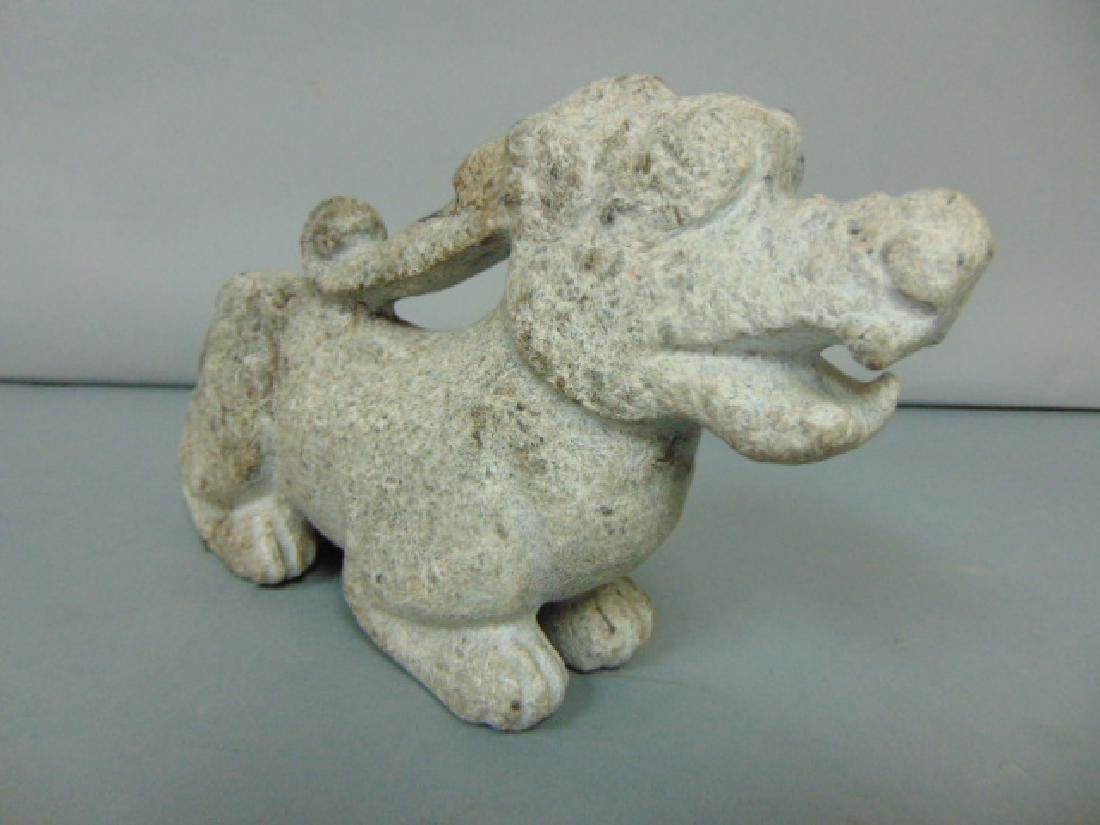 DECORATIVE HAND CARVED CHINESE SOAPSTONE DRAGON STATUE - 3
