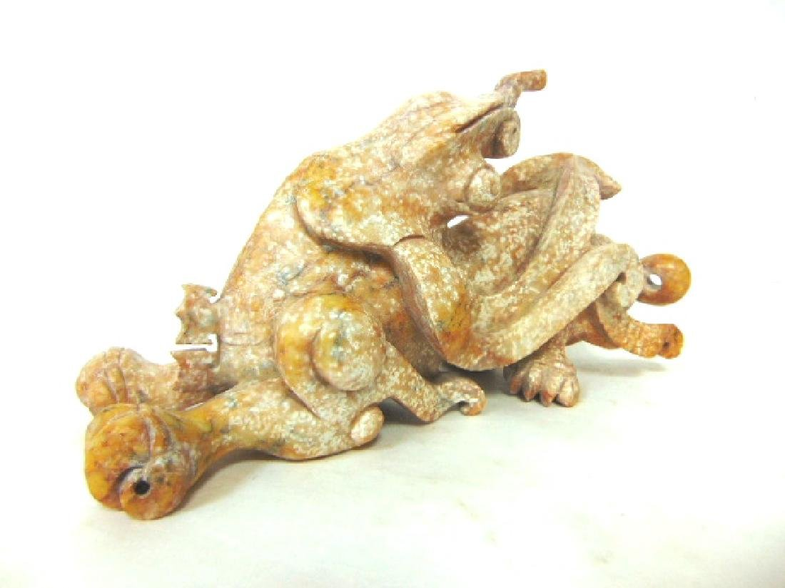 HAND CARVED CHINESE SOAPSTONE LIZARD DRAGON STATUE