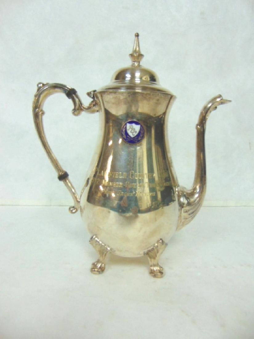VINTAGE ENGLISH SILVERPLATE TEAPOT GOLF TROPHY