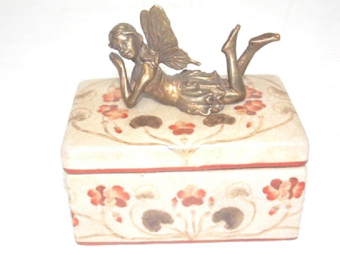 FLORAL PORCELAIN VANITY BOX W/ BRONZE FAIRY