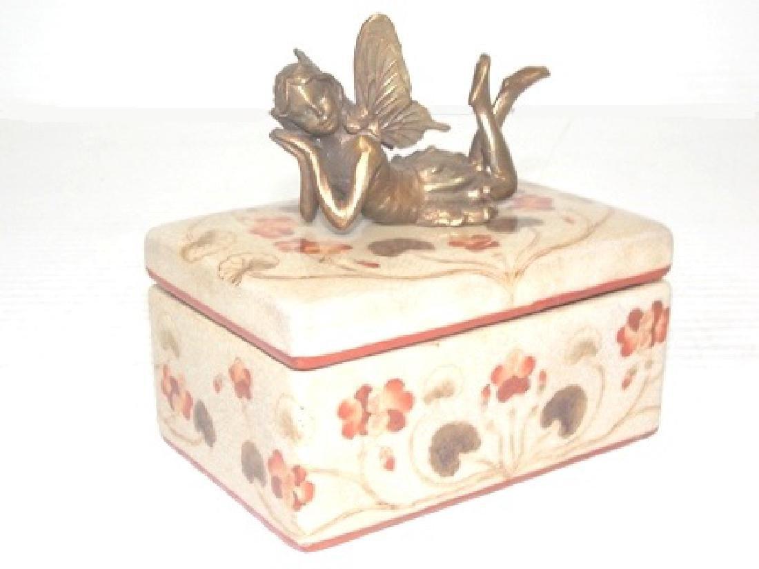 FLORAL PORCELAIN VANITY BOX W/ BRONZE FAIRY - 2