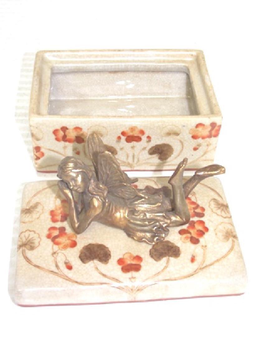 FLORAL PORCELAIN VANITY BOX W/ BRONZE FAIRY - 5