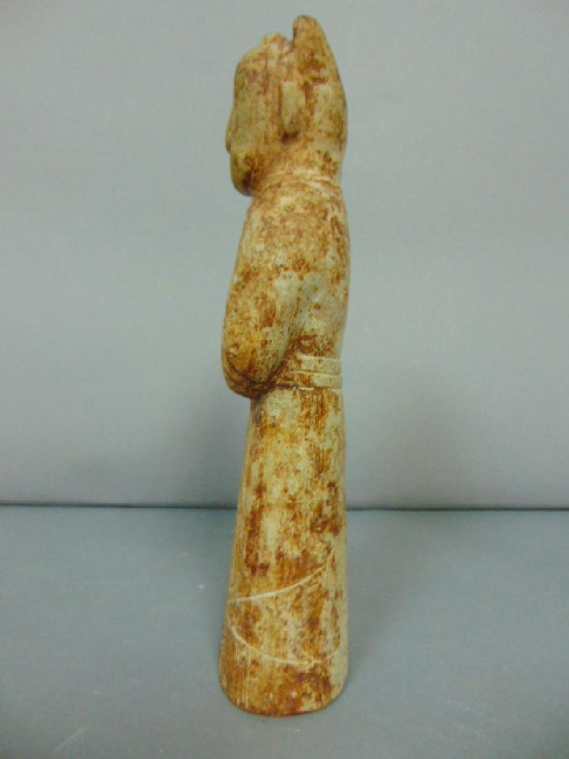 BEAUTIFUL CHINESE HONG SHAN HAND CARVED SOAPSTONE DEITY - 3