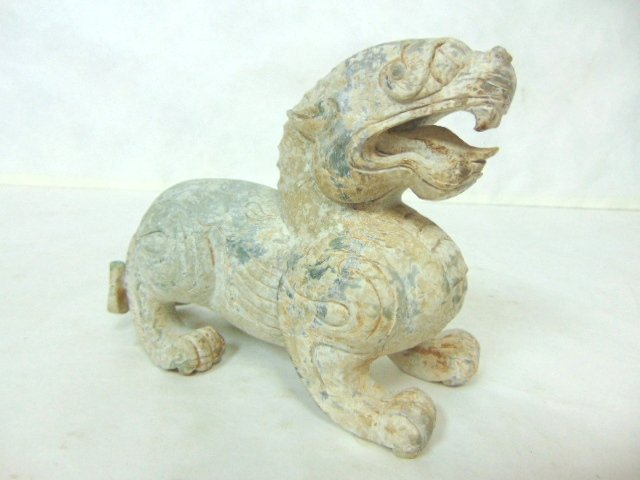 VINTAGE HAND CARVED CHINESE SOAPSTONE FOO DOG DRAGON