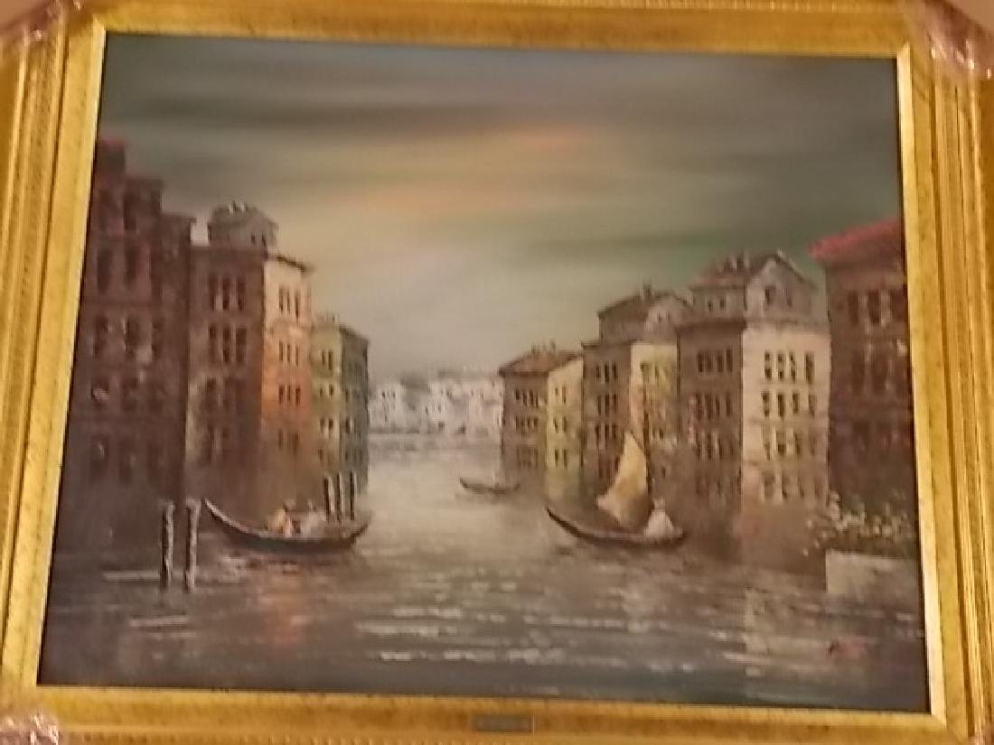 DECORATIVE PAINTING OF VENICE ITALY W/ GOLD GILT FRAME - 2