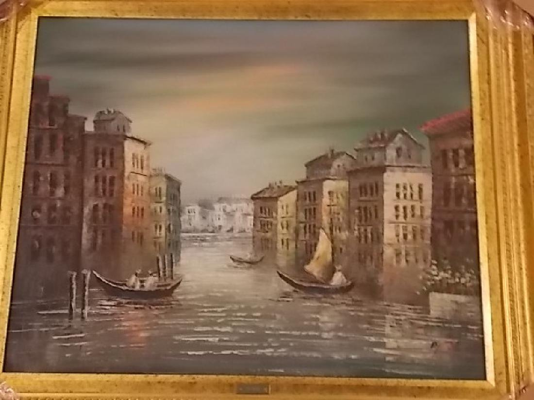 DECORATIVE PAINTING OF VENICE ITALY W/ GOLD GILT FRAME - 3