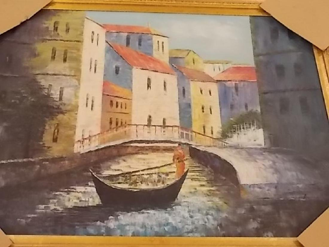 DECORATIVE PAINTING OF VENICE ITALY W/ GOLD GILT FRAME - 4