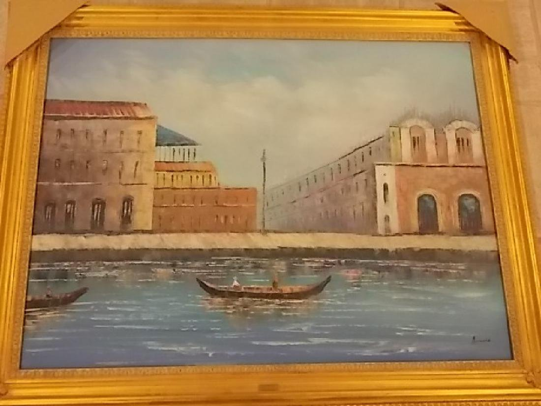 DECORATIVE PAINTING OF VENICE ITALY W/ GOLD GILT FRAME