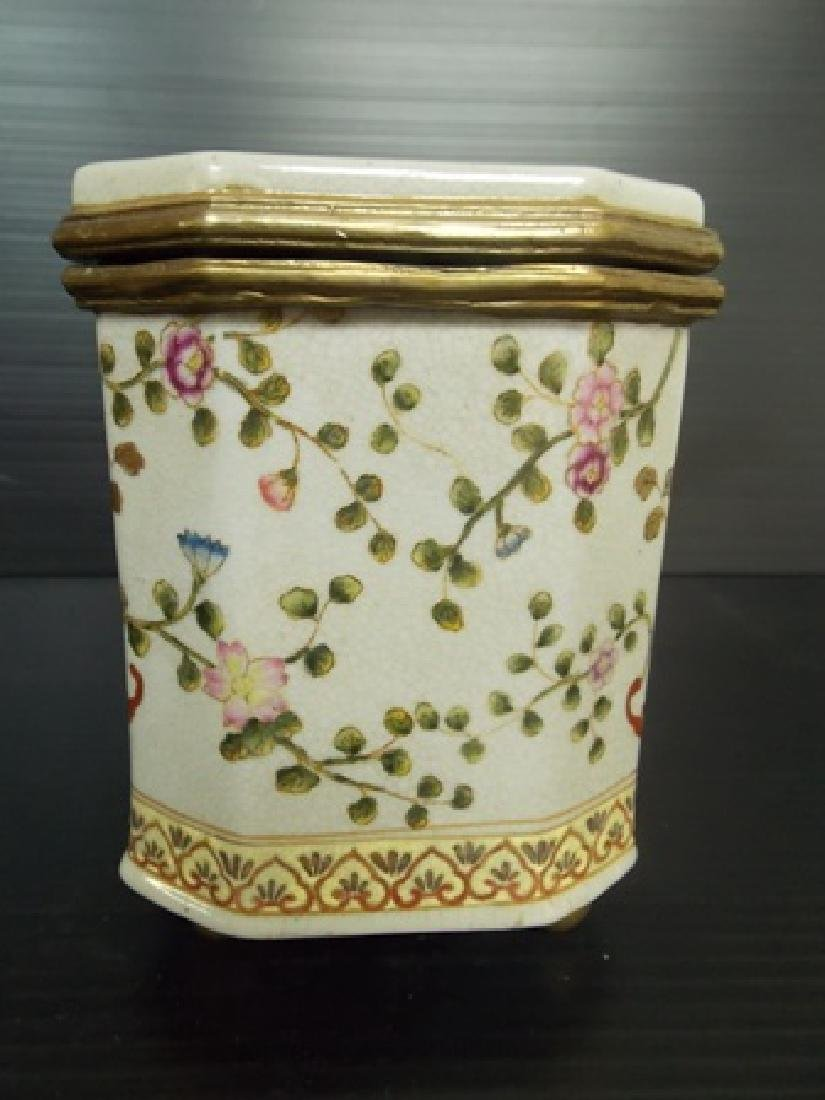 DECORATIVE VICTORIAN ART NOUVEAU PORCELAIN VANITY BOX - 2
