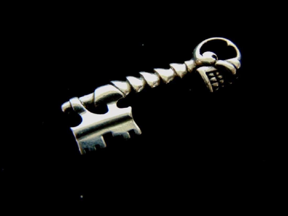 Vintage Estate Sterling Silver Skull & Key Pendant