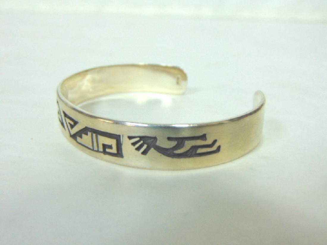 Sterling Silver Zuni Navajo Design Cuff Bracelet - 2