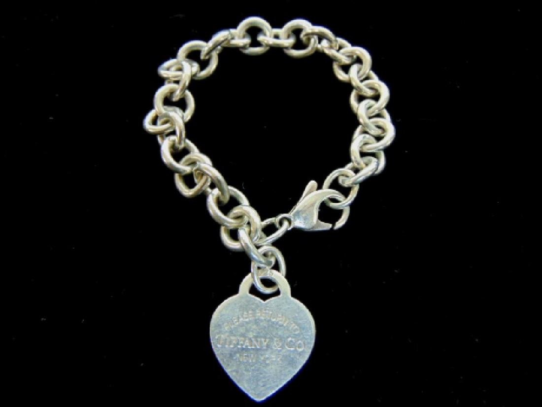 Sterling Silver Tiffany & Co Dogtag Heart Bracelet