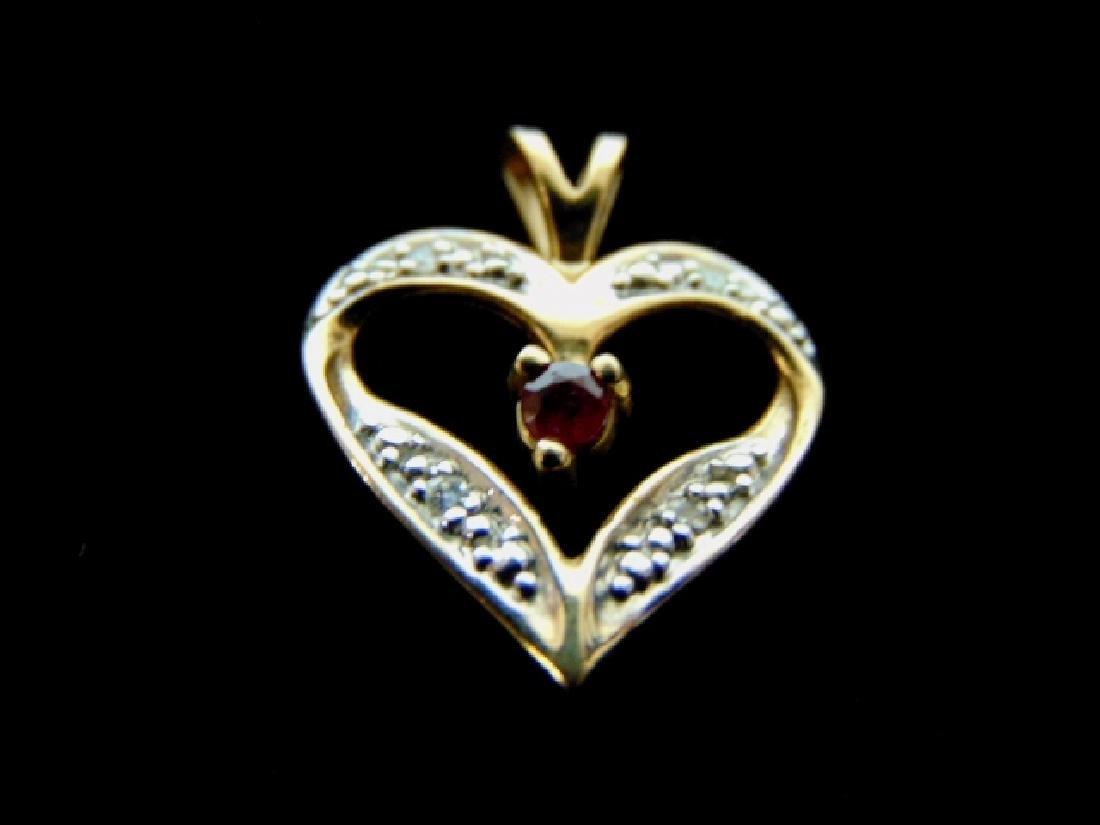 Vintage Estate 10K Gold Heart Diamond Pendant w/ Garnet