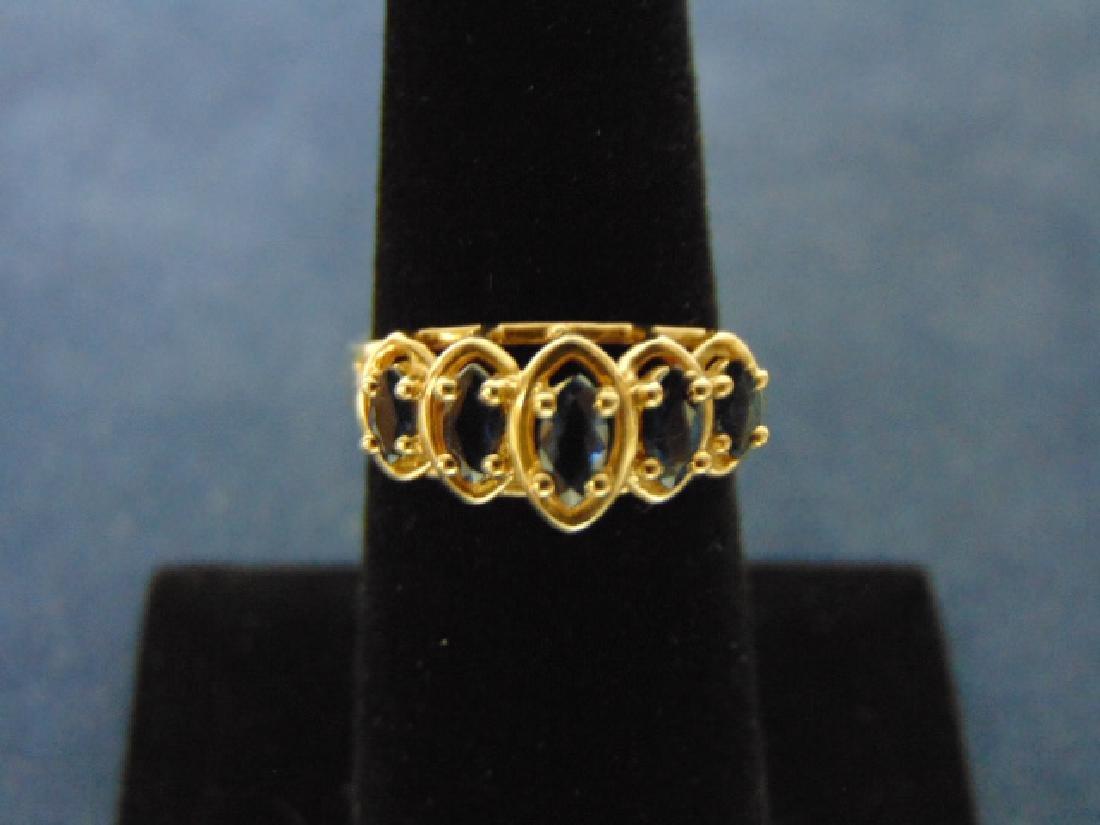 Womens Vintage Estate 10k Gold Ring w/ 5 Blue Stones