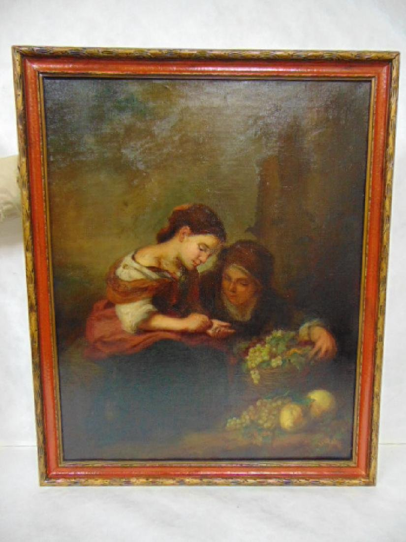 ANTIQUE BARTOLOME MURILLO OIL ON CANVAS PAINTING