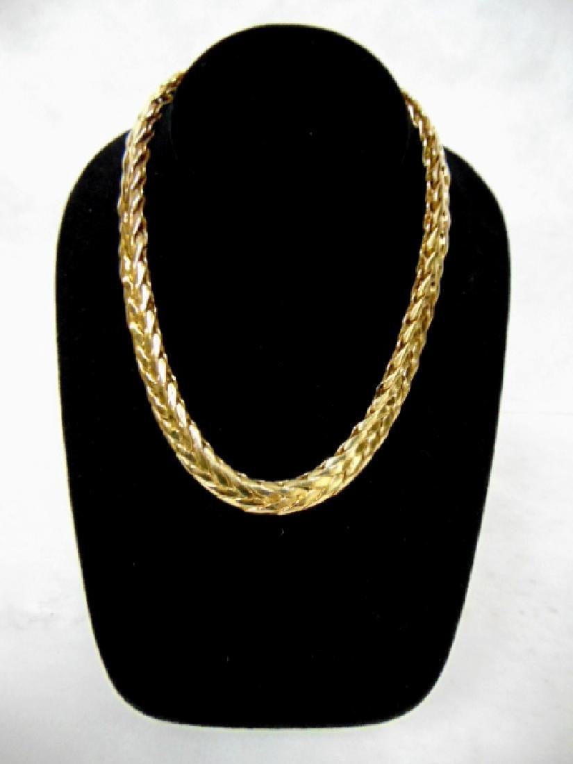 Vintage Estate 14K Yellow Thick Weaved Necklace