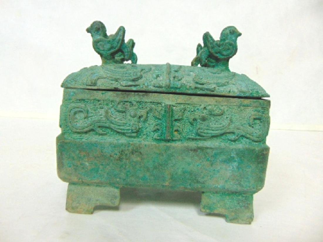 ANTIQUE CHINESE BRONZE CENSOR INCENSE BURNER BOX