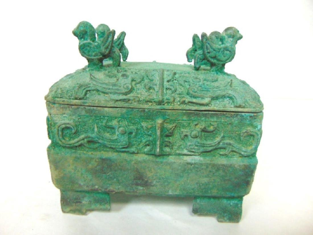 ANTIQUE CHINESE BRONZE CENSOR INCENSE BURNER BOX - 3