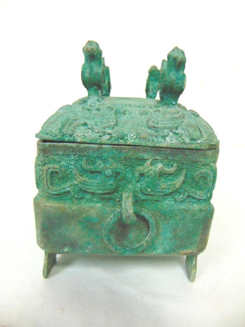 ANTIQUE CHINESE BRONZE CENSOR INCENSE BURNER BOX - 4
