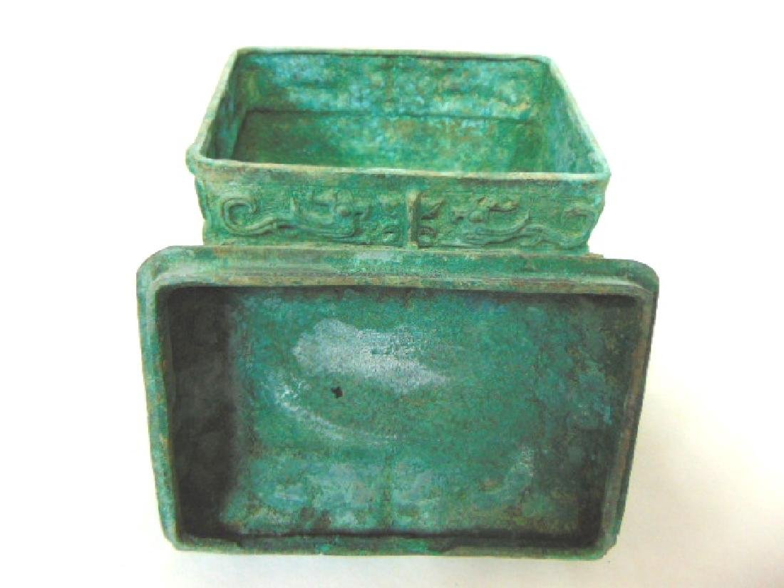 ANTIQUE CHINESE BRONZE CENSOR INCENSE BURNER BOX - 5