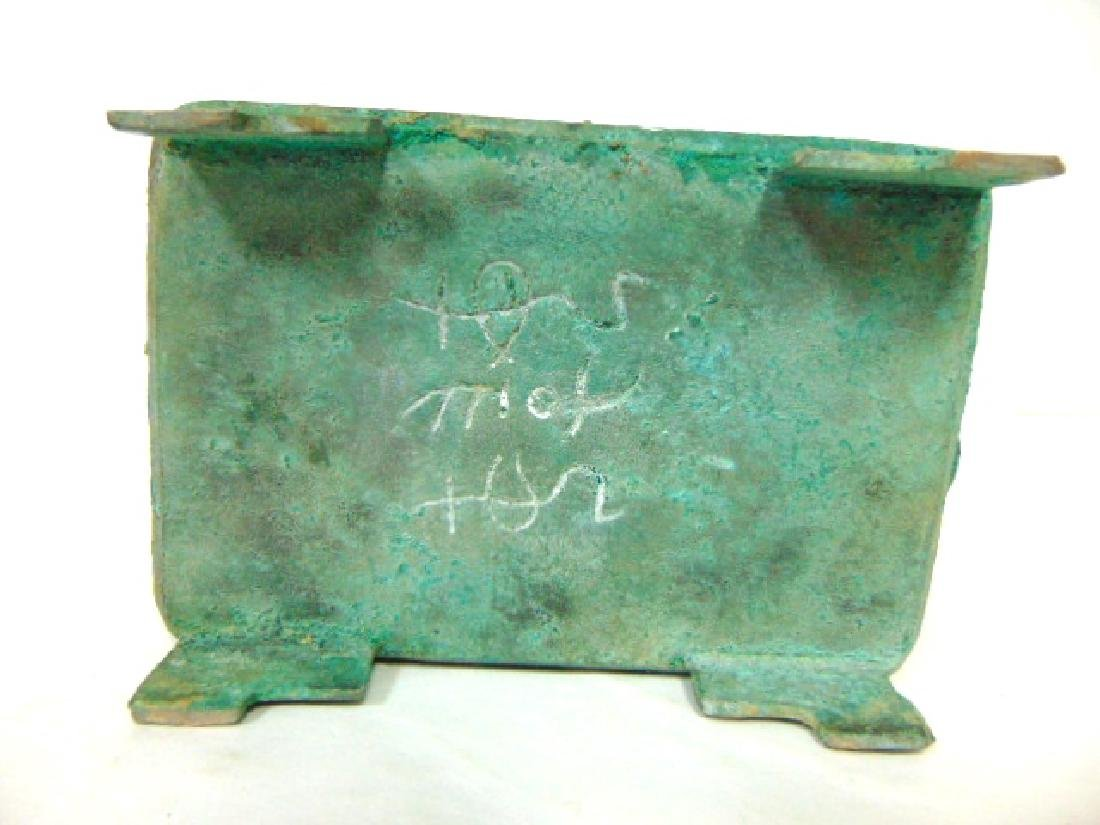 ANTIQUE CHINESE BRONZE CENSOR INCENSE BURNER BOX - 6