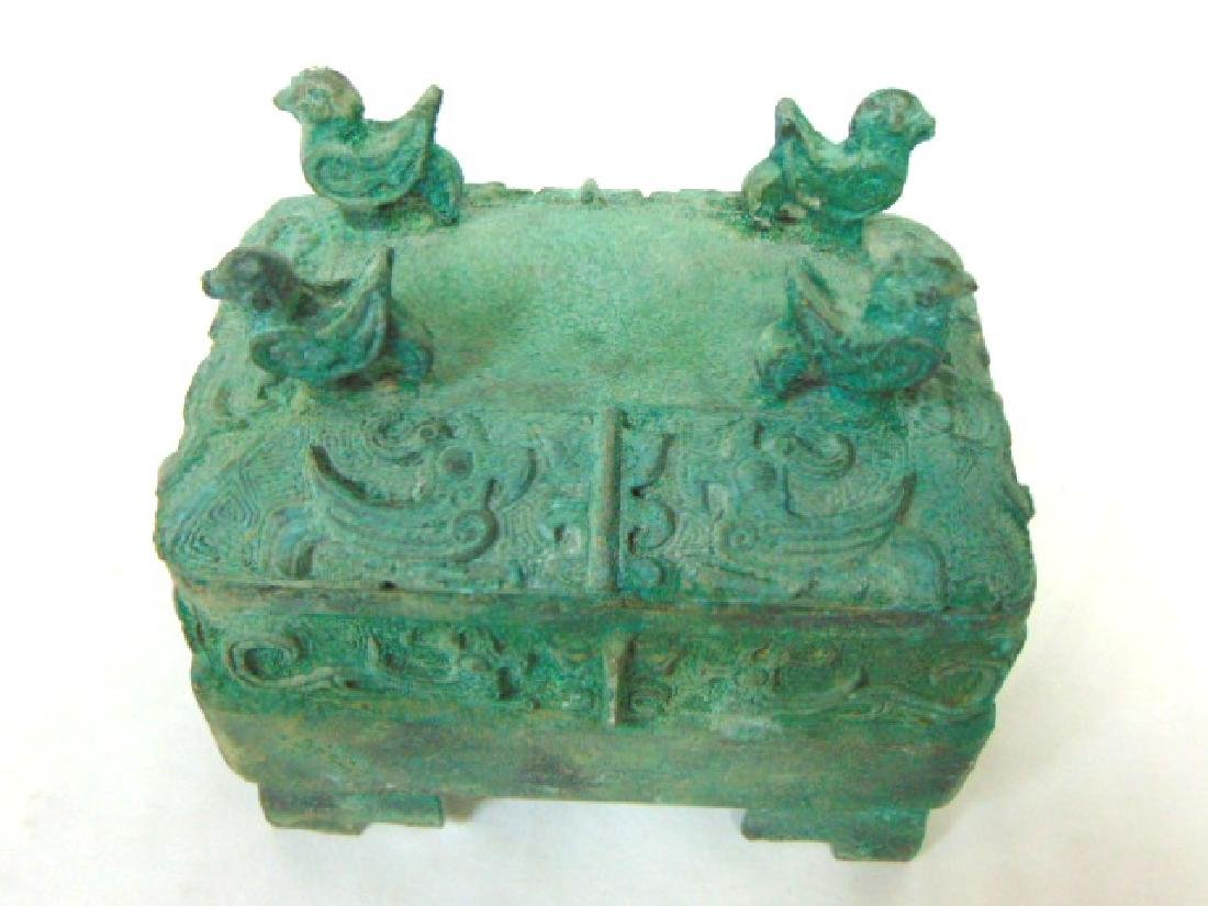 ANTIQUE CHINESE BRONZE CENSOR INCENSE BURNER BOX - 7