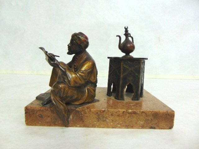 Antique Persian Cold Painted Bronze Ink Well