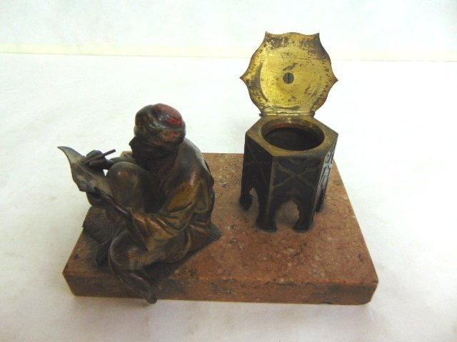 Antique Persian Cold Painted Bronze Ink Well - 2